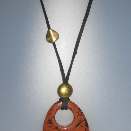 Penjoll amb obsidiana caoba, 60x45,5 mm, antelina negra, fornitures ajustables de metall daurades