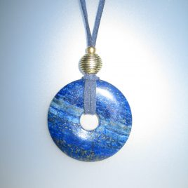 Lapis Pendant, 45 mm diameter, antelina blava, Adjustable metal golden buttons