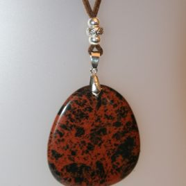 Pendant with mahogany obsidian, 50x45 mm, suede marró, Adjustable metal silver buttons