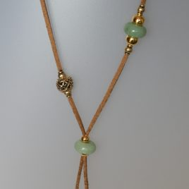 Jade Necklace, 0,50x12 mm, antelina camel color, Adjustable metal golden buttons