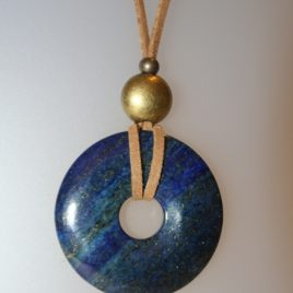Lapis Pendant, 45 mm diameter, antelina camel color, Adjustable metal golden buttons