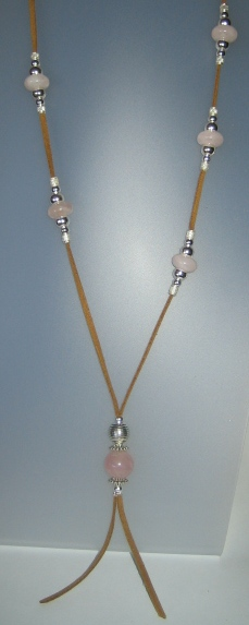Rose Quartz Necklace, antelina camel color, Adjustable metal silver buttons