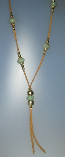 Jade Necklace, antelina camel color, Adjustable metal golden buttons