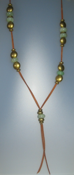 Jade Necklace, antelina camel color, Adjustable metal buttons dauradese