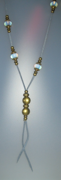 Necklace with opal, antelina blava, Adjustable metal golden buttons