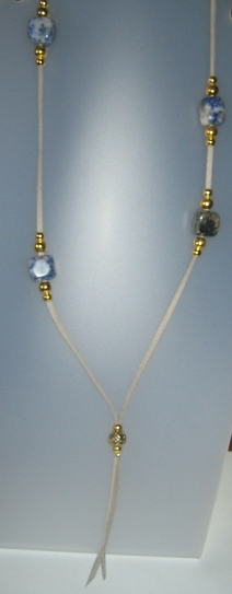 Sodalite necklace, antelina gris, Adjustable metal golden buttons