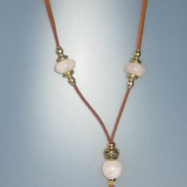 Rose Quartz Necklace, antelina camel color, Adjustable metal golden buttons