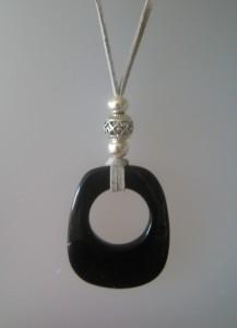Penjoll amb ònix, 60x40 mm, antelina gris, fornitures ajustables de metall platejades