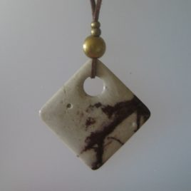 Jasper pendant, 65x65 mm, antelina camel color, Adjustable metal golden buttons
