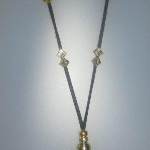 Penjoll amb àgata, 50x45 mm, antelina negra, fornitures ajustables de metall platejades