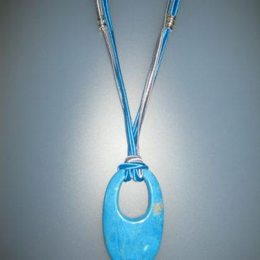 Penjoll de turquenita, 160x35 mm, soutage blau i gris, forni. plateja Col·lecció Detalls