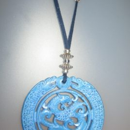 Blue jade pendant, Blue suede and silver trimmings