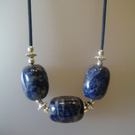 183-914 Sodalite necklace, 35x25 mm each stone, blue cotton cord, silver trimmings