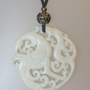Penjoll de jade blanc, 70 mm diàmetre, antelina gris, fornitures platejades
