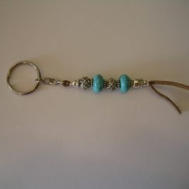 Keychain and turquoise suede,150x12 mm