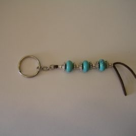 Keychain turquoise and brown suede, 160x130 mm