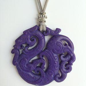 334-315 Purple jade pendant, cut on both sides, 65mm diameter, suede and cotton gray, silver trimmings