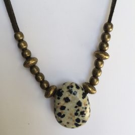 317-315 Dalmatian jasper pendant, 30x25mm, khaki suede and gold trimmings