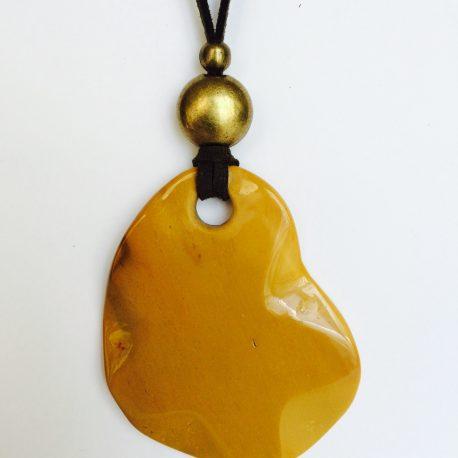 313-315 Penjoll de mokaita, 60x50mm, antelina kaki, fornitures daurades (2)