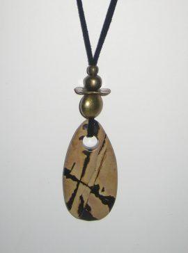 322-315 Picasso jasper pendant, 65x30mm, antelina negra i fornitures daurades