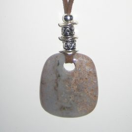 325-315 Ocean jasper pendant brown suede and silver trimmings