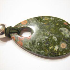 361-1116 colgante jaspe orbicular, 60x40 cm, dinero antelina color caqui