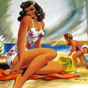 Mujer con niñas en la playa Emilio Freixas Aranguren Barcelona Ángeles Canut