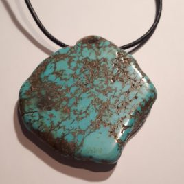 368-318 Black leather and turquoise necklace