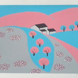 Concha Ibañez - paisaje azul y rosa - Àngels Canut